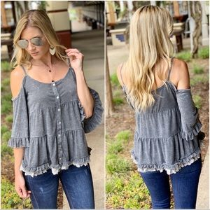 Charcoal Cold shoulder mineral wash button up